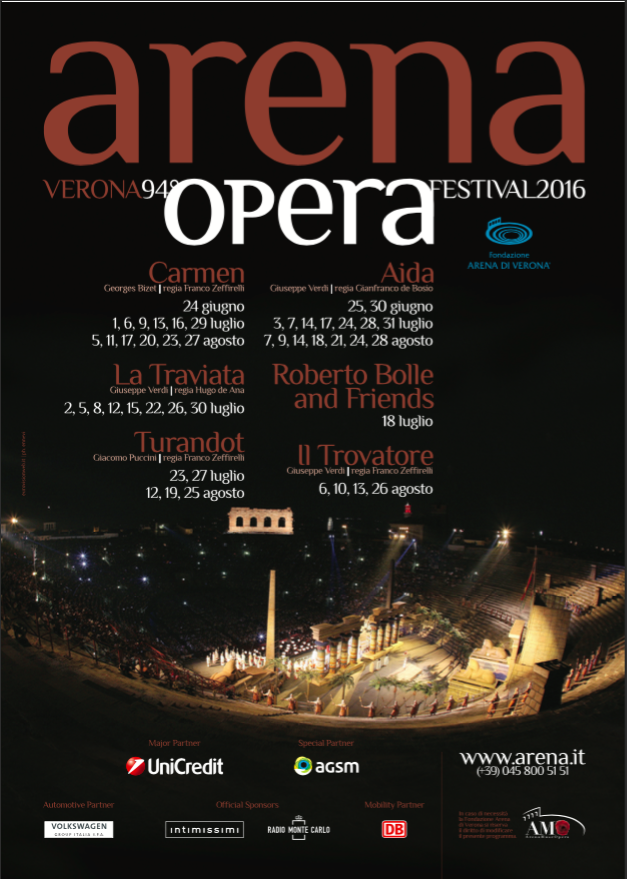Apre il calendario dell'Opera 2016 all'arena di Verona